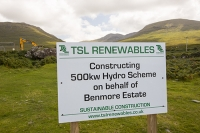 Scotland;Power;UK;renewable;renewable-energy;Hydro;Hydro-power;HEP;Power-Station;electricty;green;carbon-neutral;climate-change;global-warming;low-carbon;electric;Mull;Isle-of-Mull;Inner-Hebrides;Ben-more;munro;estate;construction;sign;small-scale;500Kw;generating;investment;green-jobs;sustainable;sustainable-construction;river