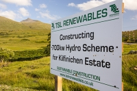Scotland;Power;UK;renewable;renewable-energy;Hydro;Hydro-power;HEP;Power-Station;electricty;green;carbon-neutral;climate-change;global-warming;low-carbon;electric;Mull;Isle-of-Mull;Inner-Hebrides;Ben-more;munro;estate;construction;sign;small-scale;700Kw;generating;investment;green-jobs;sustainable;sustainable-construction;river;Kilfinichen