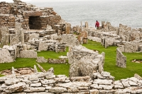 Scotland;UK;GB;Orkney;island;north;mainland;stone;standing-stone;stone-age;old;ancient;monument;preserved;preservation;archaeology;history;historic;stone-age;worship;geology;Neolithic;village;house;structure;excavation;stone;wall;structure;Broch;coast;lichen;ditch;defensive;Gurness;Broch-of-Gurness;Pictish;dwelling;house;tower;Viking