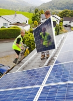 climate-change;global-warming;carbon-footprint;carbon-neutral;PV;pv;photo-voltaic;electricity;electric;solar;solar-power;solar-energy;sun;renewable;renewable-energy;generation;generating;house;household;energy-effficiency;small-scale;solar-panel;phto-voltaic-panel;silicon;van;Ambleside;energy-company;energy;power;technician;workman;electrician;roof;tile;tiled;install;installation;working-at-height;bracket;lead;cable;wire;electric-wiring;wiring;vest;high-vis;flourescent;health-and-safety