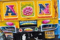 Mysore-India;congestion;rush-hour;traffic-jam;street;delay;chocked;n-old;shabby;dilapidated;traffic-rules;obey;colourful;horn;hooter;car-horn;esplanade;A;N;yellow;blue;colouful;painted;decorated;pride;truck;lorry;haulage