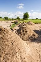Malawi;Africa;Shire-Valley;Chikwawa;sediment;sand;man;male;labourer;hard-work;shovel;shovelling;raw-materials;building-sand;river-sand;river-bed;flood-plain
