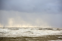 storm;stormy-weather;wind;windy;storm-Gertrude;extreme-weather;Walney;walney-Island;Cumbria;UK;beach;coast;Irish-sea;sea;waves;wave;foam;spume;climate-change;global-warming;west-coast;wind-power;renewable;renewable-energy;offshore-wind-farm;wind-turbine;Walney-Offshore-wind-farm;Ormonde-wind-Farm