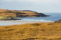 Assynt;North-West-Highlands;Scotland;headland;moorland;remote;isolated;house;croft;crofting;croft-house;Rubha-Coigeach;peak;orange;glow;glowing;Deer-grass;bog;peat-bog;cabon-sink;sea;coast;beach;bay;inlet;lazy-beds
