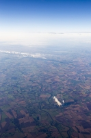aerial;aviation;cloud;weather;pattern;meteorology;white;water-vapour;altitude;pattern;shape;circle;thermal;weather-front;England;UK;field-patterns;field-boundary;farmland;agriculture;river;power-station;energy;electricity;emissions;climate-change-global-warming;C02;carbon-dioxide;coal;coal-fired-power-station