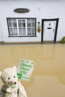 flood;flooding;flooded;disaster;natural;disaster;weather;extreme;weather;rain;rainfall;flood;plain;Gloucestershire;Tewkesbury;house;home;surrounded;marooned;cut;off;insurance;cost;expensive;UK;global;warming;climate;change;storm;river;Severn;river;Severn;protest;protestor;banner;placard-chaos;polar-bear;costume