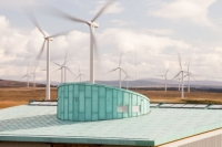 Scotland;Lanarkshire;climate-change;global-warming;energy;power;renewable-energy;clean-energy;carbon-neutral;wind-power;wind-farm;wind-turbine;carbon-footprint;moorland;sky;blue;cloud;Whitelee;Whitelee-windfarm;Eaglesham;Eaglesham-moor;sustainable;sustainability;large;MW;megawatt;output;energy-needs;energy-production;electricity-production;rotor;turbine;nacelle;Scottish-Power;energy-company;investment;green-investment;visitor-centre;roof;green;green-build;eco-build;copper;grey-water;efficient