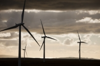 Scotland;Lanarkshire;climate-change;global-warming;energy;power;renewable-energy;clean-energy;carbon-neutral;wind-power;wind-farm;wind-turbine;carbon-footprint;moorland;sky;blue;cloud;Whitelee;Whitelee-windfarm;Eaglesham;Eaglesham-moor;sustainable;sustainability;large;MW;megawatt;output;energy-needs;energy-production;electricity-production;rotor;turbine;nacelle;Scottish-Power;energy-company;investment;green-investment;light;sun;shade;grey;evening;dusk;sunlight