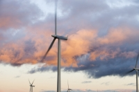 Scotland;Lanarkshire;climate-change;global-warming;energy;power;renewable-energy;clean-energy;carbon-neutral;wind-power;wind-farm;wind-turbine;carbon-footprint;moorland;sky;blue;cloud;Whitelee;Whitelee-windfarm;Eaglesham;Eaglesham-moor;sustainable;sustainability;large;MW;megawatt;output;energy-needs;energy-production;electricity-production;rotor;turbine;nacelle;Scottish-Power;energy-company;investment;green-investment;light;sun;shade;grey;dusk;evening;sunset