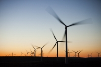 Scotland;Lanarkshire;climate-change;global-warming;energy;power;renewable-energy;clean-energy;carbon-neutral;wind-power;wind-farm;wind-turbine;carbon-footprint;moorland;sky;blue;cloud;Whitelee;Whitelee-windfarm;Eaglesham;Eaglesham-moor;sustainable;sustainability;large;MW;megawatt;output;energy-needs;energy-production;electricity-production;rotor;turbine;nacelle;Scottish-Power;energy-company;investment;green-investment;light;sun;shade;dawn;morning;sunrise;sky;glow;glowing;colour;colourful;movement;rotate;rotation;revolve;revolving;blur;moving;generating