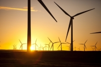 Scotland;Lanarkshire;climate-change;global-warming;energy;power;renewable-energy;clean-energy;carbon-neutral;wind-power;wind-farm;wind-turbine;carbon-footprint;moorland;sky;blue;cloud;Whitelee;Whitelee-windfarm;Eaglesham;Eaglesham-moor;sustainable;sustainability;large;MW;megawatt;output;energy-needs;energy-production;electricity-production;rotor;turbine;nacelle;Scottish-Power;energy-company;investment;green-investment;light;sun;shade;dawn;morning;sunrise;sky;glow;glowing;colour;colourful