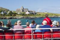 Scotland;UK;Mull;Isle-of-Mull;Inner-Hebrides;coast;beach;West-Coast;Iona;island;beach;summer;landscape;shore;shoreline;bay;inlet;mainland;Fionnphort;ferry;CalMac;Caledonian-MacBrayne;passenger-ferry;travel;transport;tourism;deck;seat;seating;sit;sitting;Iona-Abbey;Abbey