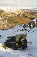 Lake-District;Cumbria;National-Park;UK;winter;cold;snow;weather;mountain;hill;road;driving;backdrop;tyre-tracks;tracks;mountain-pass;Wrynose;Wrynose-Pass;Land-Rover;stuck;four-wheel-drive;valley