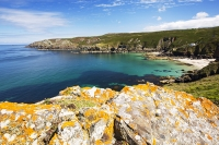 Cornwall;UK;coast;sea;Atlantic-ocean;headland;edge;moor;moorland;summer;August;blooming;sea-cliff;vegetation;bay;inlet;sea-cliff;turquoise;aquamarine;promontary;landscape;colourful;cliff;sea-cliff;crag;Granite;Igneous;Gurnards-Head;lichen;orange;air-quality;Boswednack;house;exclusive;location;viewpoint;vista;detatched;sort-after