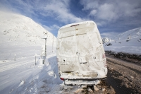 hill;mountain;Lake-District;Cumbria;UK;weather;winter;cold;snow;snow-storm;white;National-Park;meteorology;Kirkstone;Kirkstone-Pass;road;car;motoring;driving;driving-conditions;road;motorist;spray;ice;icy;slippy;van;abandoned;white-van;stranded