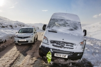 hill;mountain;Lake-District;Cumbria;UK;weather;winter;cold;snow;snow-storm;white;National-Park;meteorology;Kirkstone;Kirkstone-Pass;road;car;motoring;driving;driving-conditions;road;motorist;spray;ice;icy;slippy;van;abandoned;white-van;stranded;car;driving-conditions