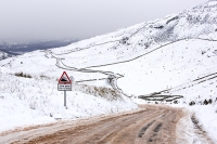 hill;mountain;Lake-District;Cumbria;UK;weather;winter;cold;snow;white;National-Park;meteorology;Kirkstone;Kirkstone-Pass;ice;icy;Red-Screes;The-Struggle;road-closed;road-sign;warning;steep;mountain-pass;travel;driving-conditions;slat;road-salt;grit;gritted;steep;low-gear