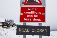 hill;mountain;Lake-District;Cumbria;UK;weather;winter;cold;snow;white;National-Park;meteorology;Kirkstone;Kirkstone-Pass;ice;icy;Red-Screes;The-Struggle;road-closed;road-sign;warning;steep;mountain-pass;car;motorist;travel;driving-conditions