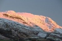 sunrise;dawn;light;glow;snow;winter;weather;hill;mountain;Lake-District;Cumbria;UK;snowfall;white;cold;freezing;snow-pack;slope;pink;cloud;view;vista;expensive;Ambleside;glow;Red-Screes;kirkstone;kirkstone-Pass;road;mountain-pass