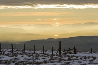 Lake-District;mountain;hill;weather;mist;misty;visibility;air-quality;high-pressure;winter;cold;snow;Hartside;vista;view;fence;Pennines;North-Pennines;Hartside;dusk;sunset;cloud;Helvellyn