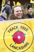 fracking;shale-gas;Blackpool;Lancashire;UK;protest;fossil-fuel;climate-change;global-warming;banner;placard;concern;environment;environmentalist;yellow;colourful;gas;energy;energy-policy;planning;planning-application;planning-appeal;Cuadrilla;David-and-Goliath;battle;localism;democracy;person;man;woman;concerned;green;long-hair;laugh;smile;happy