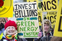 fracking;shale-gas;Blackpool;Lancashire;UK;protest;fossil-fuel;climate-change;global-warming;banner;placard;concern;environment;environmentalist;yellow;colourful;gas;energy;energy-policy;planning;planning-application;planning-appeal;Cuadrilla;David-and-Goliath;battle;localism;democracy;person;man;woman;concerned;green;pensioner;old;OAP;knitted;scarf;rainbow
