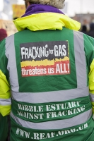 fracking;shale-gas;Blackpool;Lancashire;UK;protest;fossil-fuel;climate-change;global-warming;banner;placard;concern;environment;environmentalist;yellow;colourful;gas;energy;energy-policy;planning;planning-application;planning-appeal;Cuadrilla;David-and-Goliath;battle;localism;democracy;person;man;woman;concerned;green;threaten
