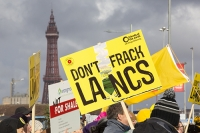 fracking;shale-gas;Blackpool;Lancashire;UK;protest;fossil-fuel;climate-change;global-warming;banner;placard;concern;environment;environmentalist;yellow;colourful;gas;energy;energy-policy;planning;planning-application;planning-appeal;Cuadrilla;David-and-Goliath;battle;localism;democracy;person;man;woman;concerned;green;Blackpool-Tower