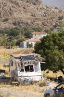 Lesvos;Lesbos;island;Greece;coast;Aegean;Mediteranean;Skala-Eresou;Europe;caravan;home;basic;energy;off-grid;electricity;renewable;renewable-energy;solar;solar-power;solar-panel;PV;photo-voltaic;wind;wind-power;wind-turbine