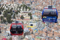 South-America;Bolivia;La-Paz;city;house;housing;dense;density;slope;hilly;Andes;altitude;high;infrastructure;cable-car;transport;cable;cabin;telecabin;lift;investment;modern;overcrowded;population;El-Alto;solar-panel;renewable;renewable-energy;PV;photo-voltaic