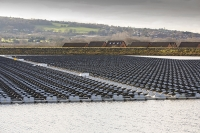 Hyde;Manchester;UK;United-Utilities;reservoir;water;water-supply;drinking-water;solar;solar-power;solar-farm;floating;floating-solar;solar-panel;PV;photo-voltaic;electricity;green;clean;carbon-neutral;climate-change;global-warming;innovative;novel;floats;renewable-energy