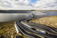 Hyde;Manchester;UK;United-Utilities;reservoir;water;water-supply;drinking-water;solar;solar-power;solar-farm;floating;floating-solar;solar-panel;PV;photo-voltaic;electricity;green;clean;carbon-neutral;climate-change;global-warming;innovative;novel;floats;renewable-energy;pipe;cable;connection;housing;electricity-cable