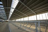 UK;solar;solar-power;solar-farm;solar-panel;PV;photo-voltaic;electricity;green;clean;carbon-neutral;climate-change;global-warming;innovative;novel;floats;renewable-energy;roof;barn;cow-shed;farm;Lancashire;construction;farming;carbon-footprint;stalls;interior
