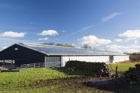 UK;solar;solar-power;solar-farm;solar-panel;PV;photo-voltaic;electricity;green;clean;carbon-neutral;climate-change;global-warming;innovative;novel;floats;renewable-energy;roof;barn;cow-shed;farm;Lancashire;construction;farming;carbon-footprint