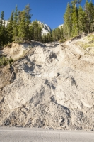 Jasper;national-Park;Rockies;Rocky-mountains;Canada;Alberta;steep;slope;mountainside;forest;drainage;weather;extreme-weather;damage;destruction;torrential-rain;road;closure;sediment;erosion;eroded;flood;flooded;washout;climate-change;global-warming;landslide;failure