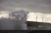 Workington;UK;Cumbria;carbon-neutral;climate-change;global-warming;power;power-station;electricity;energy;renewable-energy;clean;green;West-Coast;modern;investment;green-investment;wind-power;wind-farm;wind-turbine;Harrington;West-Cumbria;coast;Irish-Sea;coastal-defences;sea-wall;spray;salt-spray;weather;extreme-weather;wave;crashing;breaking;coastal-defences;gale-force;wind;windy;storm-force;wind-speed;storm-damage;inundated;coastal-flooding