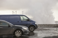 Workington;UK;Cumbria;carbon-neutral;climate-change;global-warming;power;power-station;electricity;energy;renewable-energy;clean;green;West-Coast;modern;investment;green-investment;wind-power;wind-farm;wind-turbine;Harrington;West-Cumbria;coast;Irish-Sea;coastal-defences;sea-wall;spray;salt-spray;weather;extreme-weather;wave;crashing;breaking;coastal-defences;gale-force;wind;windy;storm-force;wind-speed;storm-damage;car;van;inundated;coastal-flooding