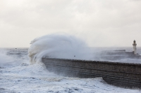 Whitehaven;Cumbria;UK;weather;extreme-weather;harbour;wall;battering;wave;crashing;breaking;storm;wind;windy;low-pressure;weather-bomb;West-Coast;Irish-Sea;stormy;stormy-weather;high-tide;wave-height;overpowering;power;powerful;wave-power;lighthouse;house;building;spray;salt-spray;Gull;seagull;bird;flight;fly