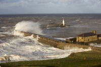 Whitehaven;Cumbria;UK;weather;extreme-weather;harbour;wall;battering;wave;crashing;breaking;storm;wind;windy;low-pressure;weather-bomb;West-Coast;Irish-Sea;stormy;stormy-weather;high-tide;wave-height;overpowering;power;powerful;wave-power;lighthouse;house;building;spray;salt-spray;gull;seagull;Herring-Gull;bird;flight;flying