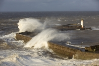 Whitehaven;Cumbria;UK;weather;extreme-weather;harbour;wall;battering;wave;crashing;breaking;storm;wind;windy;low-pressure;weather-bomb;West-Coast;Irish-Sea;stormy;stormy-weather;high-tide;wave-height;overpowering;power;powerful;wave-power;lighthouse;house;building;spray;salt-spray
