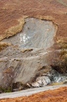 Lake-District;Coniston;UK;Copper-Mines;river;stream;landslide;landslip;movement;gravity;slope;failure;slip;soil;subsoil;substrate;tear;weight;material;bracken;mountain;hillside