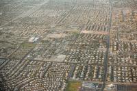 USA;US;America;aerial;Nevada;desert;dry;sunlight;shadow;evening;Las-Vegas;town;house;housing;layout;street;road;block;grid;grid-pattern;square;squares