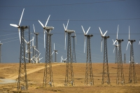 USA;US;America;California;Mojave-Desert;desert;electricity;generating;renewable;renewable-energy;wind-power;carbon-neutral;climate-change;global-warming;investment;clean-energy;technology;construction;green;green-energy;wind-turbine;wind-farm;truck;crane;Tehachapi-Pass;turning;rotating;tower;frame