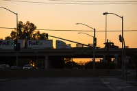 USA;US;America;California;Kern-County;Bakersfield;bridge;crossing;road;highway;support;column;traffic-lights;sunset;orange;glow;truck;transport;travel;haulage