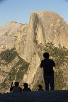 USA;US;America;California;tourist-attraction;light;sunlight;Yosemite-National-Park;Autumn;Fall;tree;mountain;forest;granite;dome;geology;Half-dome;Glacier-Point;Yosemite-Valley;sunset;shade;landscape;vista;viewpoint;icon;iconic;big-wall;cliff;orange;silhouette;tourist;tourism