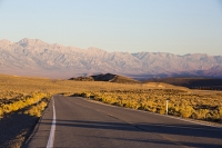California;USA;America;Death-Valley;desert;drought;hot;dry;low;heat;mountain;mountain-range;light;warm;glow;dawn;sunrise;Great-Western-Divide;road;highway