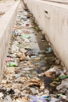Morocco;Africa;North-Africa;water-course;river;polluted;pollution;rubbish;trash;garbage;contaminated;environment;bacteria;algae;water-quality