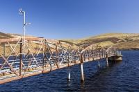 Southern-Uplands;Biggar;Scotland;UK;hill;moor;moorland;Spring;sky;blue;top;summit;heather;vegetation;peat;carbon-sink;climate-change;carbon;sequestration;blanket-peat-bog;peat-bog;carbon-sink;carbon-store;Borders;Culter-Fell;renewable;renewable-energy;reservoir;Coulter-reservoir;water;water-supply;drinking-water;bridge;walkway;metal;steel;rusty