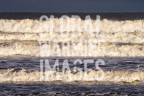 Waves hitting the Northumberland coast at Seahouses.