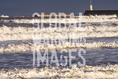 Waves hitting the Northumberland coast at Seahouses.